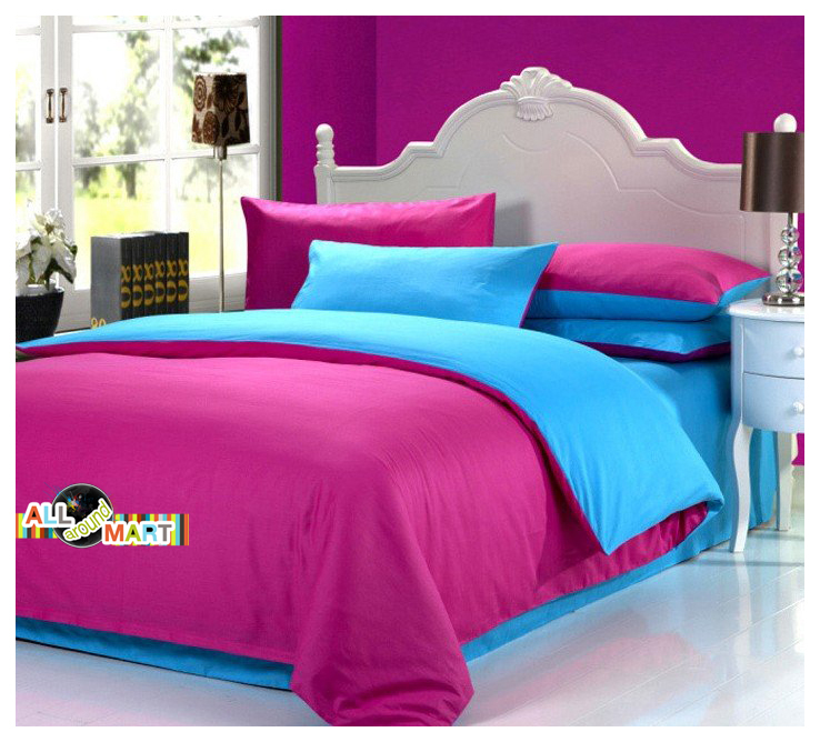 bedroom pink and blue free shipping 4pcs cotton contrast color bedding set duvet 14376