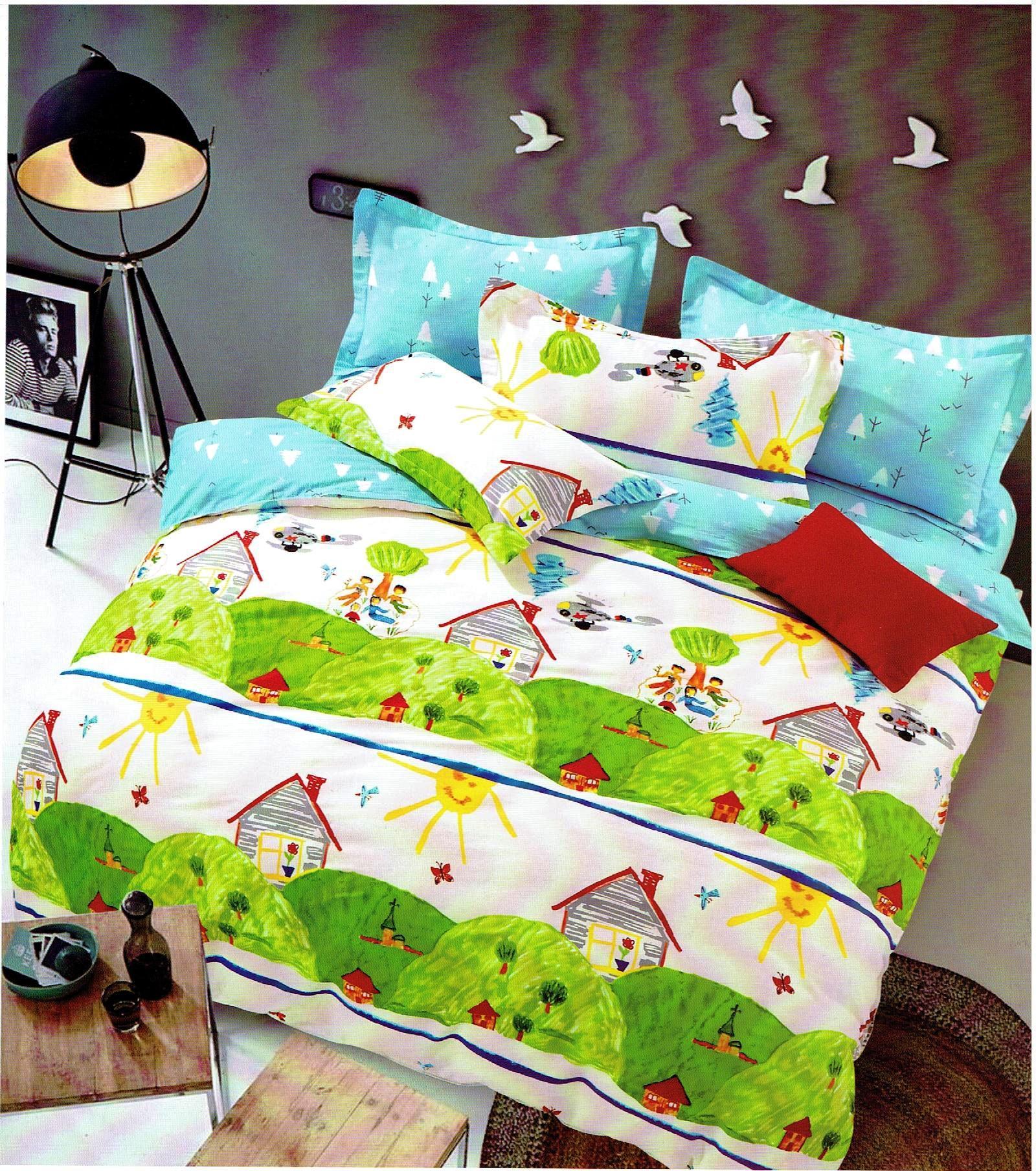 couette double face peinture enfant espace vert une place et demi. Black Bedroom Furniture Sets. Home Design Ideas